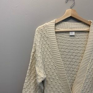 Sweaters - Cream Knitted Long Cardigan